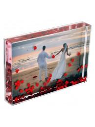 Rama Foto Acryl Heart Blox pentru Fotografii 10x15 cm, cu Inimioare Rosii