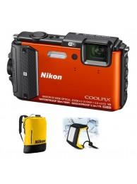 Nikon Coolpix AW130 - Subacvatic, 16Mpx, 5x Zoom optic, Filmare Full-HD, GPS, Wi-Fi, NFC, Portocaliu - Diving kit