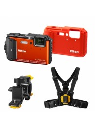 Nikon Coolpix AW130 - Subacvatic, 16Mpx, 5x Zoom optic, Filmare Full-HD, GPS, Wi-Fi, NFC, Portocaliu - Outdoor Kit