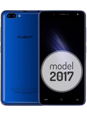 "Telefon Mobil Cubot Rainbow 2, Dual SIM 3G, 5"" HD IPS, 4Core 1.3 GHz, 1GB + 16GB, Dual Camera 13+2 MPx, Blit Frontal, LED Notificare (Albastru), Certificat GMS, Albastru +BONUS: Carcasa Transparenta si Folie Plastic"