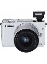 Aparat Foto Mirrorless Canon EOS M10 Alb cu Obiectiv EF-M 15-45mm f/3.5-6.3 IS STM + CashBack Canon 150 Lei