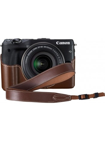 Aparat Foto Mirrorless Canon EOS M3, Negru cu Obiectiv EF-M 18-55mm IS STM, Premium Kit (Include: Toc Piele, Curea de Mana, Card SDHC 16GB 80MB/s)
