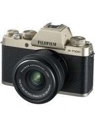Aparate foto Mirrorless FUJIFILM X-T100 cu Obiectiv 15-45mm, Champagne GOld