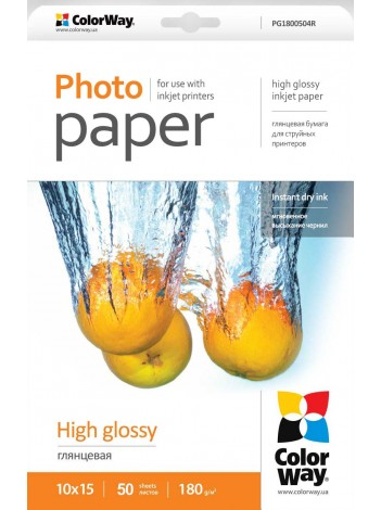 Hartie Foto ColorWay high glossy 180g/m2, 10x15, 50Buc