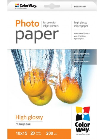 Hartie Foto ColorWay high glossy 200g/m2, 10x15, 20Buc