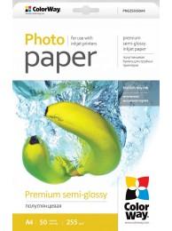 Hartie Foto ColorWay premium semi-glossy 255g/m2, A4, 50Buc