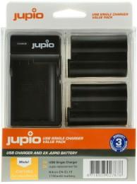 Kit Jupio, 2 Acumulatori EN-EL15, 1700 mAh, si Incarcator cu o Baza si Port USB, Negru
