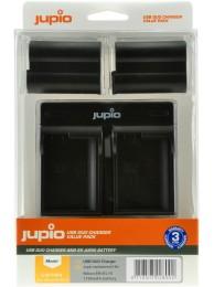 Kit Jupio, 2 Acumulatori EN-EL15, 1700 mAh, si Incarcator cu doua Baze si Port USB, Negru