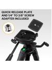 """KODAK PhotoGear 62 Trepied compact din aluminiu cu 3 sectiuni, 56-158cm, cap panoramic, placuta QuickRelease, surub adaptor de la 1/4"""" la 3/8 """", Nivela, include husa, negru"""