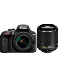Nikon D3400 cu Obiectiv 18-55mm AF-P VR si Nikkor 55-200mmVR II, Negru, Premium KIT
