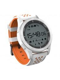 SmartWatch NO.1 F3, Ecran Circular 1.1 inch, BT 4.0, Autonomie pana la 365 zile, Protectie IP68, Pedometru, Monitorizare Somn, Altimetru, Barometru, Alb/Portocaliu
