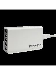 PNY Incarcator Multi-USB Rapid, 5 Porturi USB, Alb (potrivit pentru SmartPhone is Tablete)