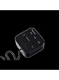PNY Card Reader All in One si HUB USB, USB 2.0, Negru