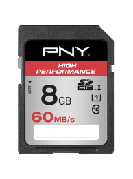 PNY 8GB High Performance (Video FullHD) SDHC 60/30MB/s UHS-I, Class 10, WaterProof, ShockProof, Temperature Proof