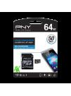 PNY 64GB microSDHC + Adaptor, 50/10MB/s UHS-I, Class 10