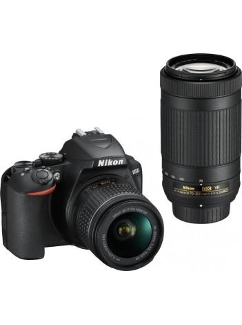Nikon D3500 cu Obiectiv 18-55mm AF-P VR si 70-300mm AF-P VR, Negru