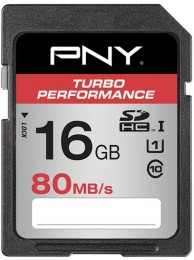PNY 16GB Turbo Performance (Video FullHD) SDXC 80/60MB/s UHS-I, Class 10 U1, WaterProof, ShockProof, Temperature Proof