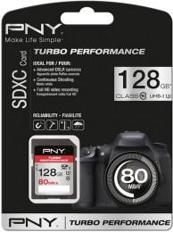 PNY 128GB Turbo Performance (Video FullHD) SDXC 80/60MB/s UHS-I, Class 10 U3, WaterProof, ShockProof, Temperature Proof