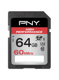 PNY 64GB High Performance (Video FullHD) SDXC 60/30MB/s UHS-I, Class 10, WaterProof, ShockProof, Temperature Proof