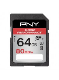 PNY 64GB Turho Performance (Video FullHD) SDXC 80/60MB/s UHS-I, Class 10 U3, WaterProof, ShockProof, Temperature Proof