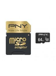 PNY 64GB Elite Performance (Video 4K) micro SDXC + Adaptor 100/90MB/s UHS-I, Class 10 U3