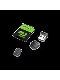 PNY 64GB High Performance (Video FullHD) micro SDXC + Adaptor SD + Adaptor USB, 50/20MB/s UHS-I, Class 10 U1