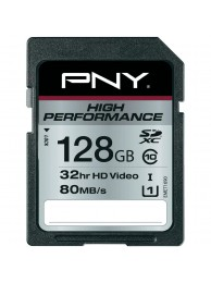 PNY 128GB High Performance (Video FullHD) SDXC 80/40MB/s UHS-I, Class 10, WaterProof, ShockProof, Temperature Proof