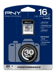 PNY 16GB Performance (Video HD) SDHC 30/20MB/s UHS-I, Class 10, WaterProof, ShockProof, Temperature Proof