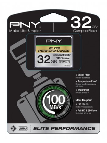 PNY 32GB Elite Performance (Video FullHD, 3D, 4K) Compact Flash UDMA 7, 100/50MB/s, WaterProof, ShockProof, Temperature Proof, Magnet Proof