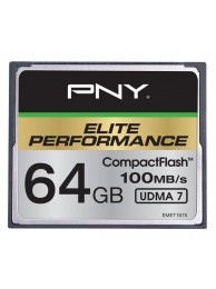PNY 64GB Elite Performance (Video FullHD, 3D, 4K) Compact Flash UDMA 7, 100/50MB/s, WaterProof, ShockProof, Temperature Proof, Magnet Proof