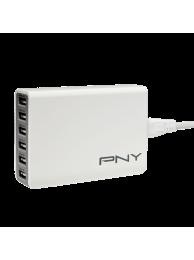 PNY Incarcator Multi-USB Rapid, 6 Porturi USB, Alb (potrivit pentru SmartPhone is Tablete)