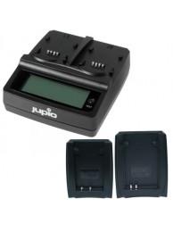 Incarcator Universal Jupio cu 2 baze si 1 USB, cu 2 conectori pentru acumulatori tip Nikon EN-EL15