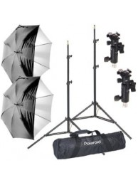 Polaroid Kit Studio Strobist, Include 2 Umbrele Reversibile 81cm, 2 stative 1.9m, 2 Menghine pentru blitz si umbrela